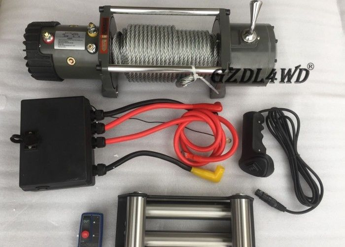 China Off Road Handlebar Mini Winch Electric Automotive 12v 24v 8000lbs For ATV factory