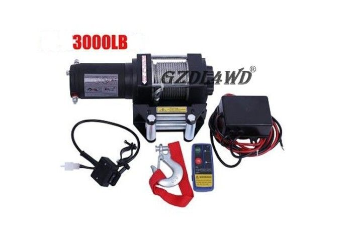 China Mini 3000lbs 24V 12V Heavy Duty Electric Winch Wire Rope ATV with Automatic Braking Action factory