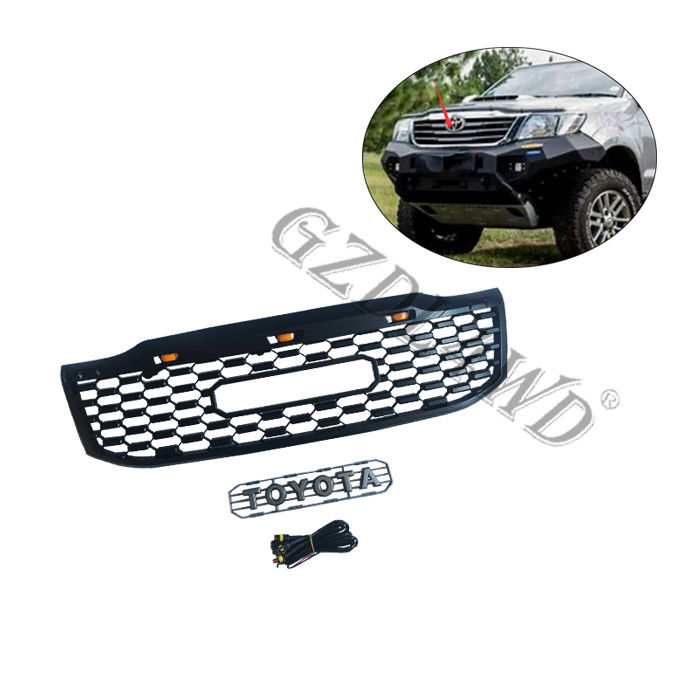 Mesh Cover Exterior Replacement Front Grill Mesh Abs Black For Toyota Hilux Vigo 2012+